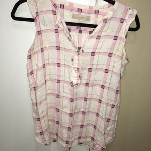 LOFT PETITE XS PINK AND WHITE Platted shirt